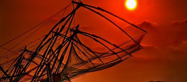Redes chinas de pesca en Cochin